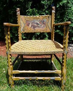 Sicilian Early 20th C Antique Folk Art Hand Carved Decorated Wooden Arm Chair