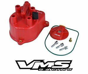 Vms Racing Red Ignition Distributor Cap Rotor For 94 01 Acura Integra Gsr Type r