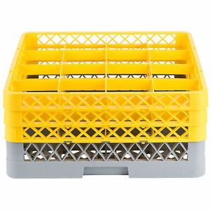 Commercial Dishwasher Machine 16 Cup Glass Tray Rack 3 Extenders Dishwashing
