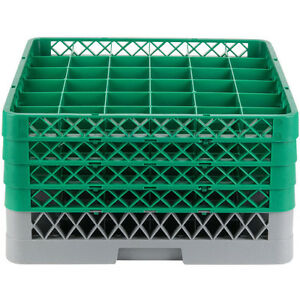 Commercial Dishwasher Machine 36 Cup Glass Tray Rack 4 Extenders Dishwashing