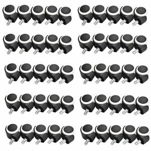 50x Office Chair Caster Heavy Duty Wheel Swivel Wood Floor Furniture Replacement