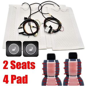 2 Seats 4 Pad Universal Car Carbon Fiber Heated Seat Heater Kits Two Switch 12v