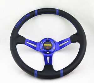 Universal 350mm Blue Drift Stitch Deep Dish 6 Bolt Racing Sport Steering Wheel