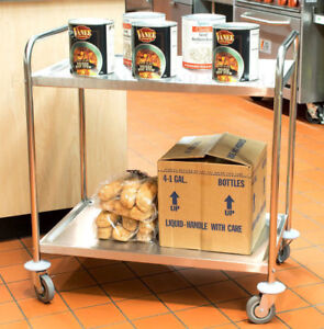 21 X 33 Stainless Steel Commercial Two 2 Shelf Utility Kitchen Office Bus Cart