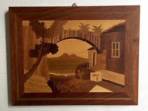 Wood Marquetry Plaque Picture 9 Vtg Volcano Mountain Village Exotic Inlay