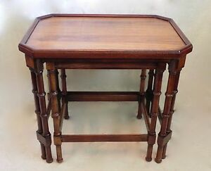 Vtg Set Wooden Faux Bamboo Nesting Stacking Tables Chinoiserie Brandt Hagerstown