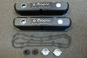 Nos Mopar Performance Black Cast Aluminum Small Block 318 340 360 Valve Covers