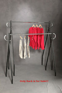 Chrome Black Powder Coated Steel Single Rail Clothing Rack 60 In W X 23 In D