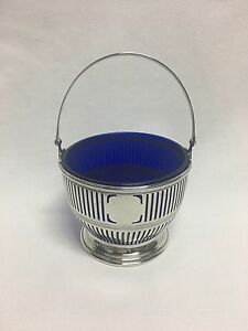 Watson Sterling Silver Cobalt Blue Glass Insert Basket No Mono
