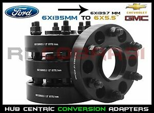 4 Pc Ford 6x135 To 6x139 7 6x5 5 1 5 Black Hub Centric Wheel Spacers Adapters
