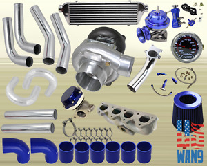Honda Prelude Vtec H22a T3 t4 Turbocharger Turbo Kit Blue manifold bov wg gauge