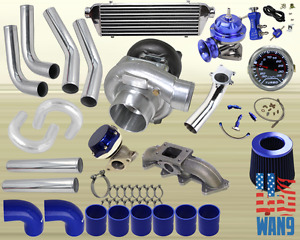 94 02 Accord acura Cl T3 t4 Turbocharger Turbo Kit Blue manifold bov wg gauge