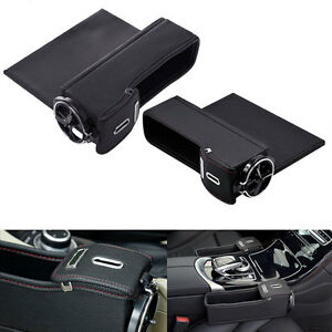 2 Black Pu Leather Seat Catcher Gap Filler Storage Box Coin Collector Cup Holder