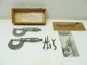 2 Vintage Brown Sharpe Starrette Micrometer Caliper 13 Wood Box Spanner Tool