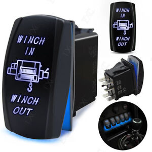 12v 20a Led Blue Laser Etched Rocker Switch Dual Light On Off Winch In Winch Out