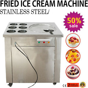 Usa Fried Ice Cream Machine Single Round Pan Ice Cream Roll Machine With 6 Boxes