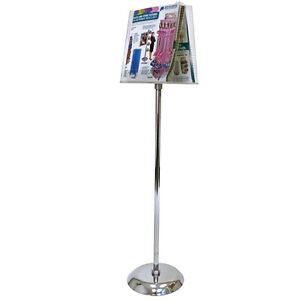 Retails Chrome Acrylic 2 pocket Literature Holder Floor Stand 8 5 X 11 Paper