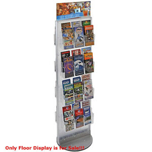 Clear 48 Pocket 2 sided Revolving Pegboard Brochure Floor Display 16 wx60 h