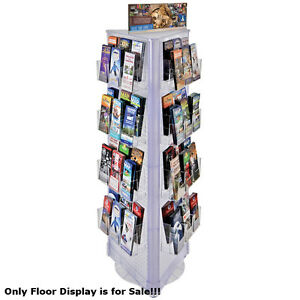 Clear 72 Pocket 3 sided Revolving Pegboard Brochure Floor Display 16 wx60 h