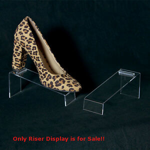 Box Of 10 Slanted Acrylic Shoe Riser Display 7 In W X 2 1 2 In D X 3 In H