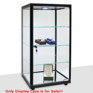 Retails Black Lighted Square Countertop Glass Display Case 14 In W X 12 In D
