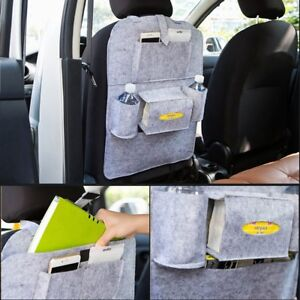 Gray Car Seat Back Storage Bag Multi Pocket Travel Organizer Ipad Iphone Holder