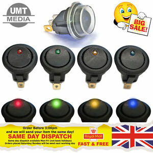 12v Round Rocker Switch Red Green Amber Blue Black Car Van Dash Boat On off