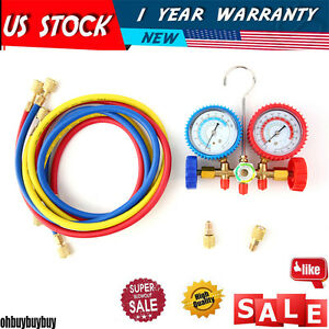 R410a R22 Manifold Gauge Set Ac A c 5ft Color Hose Air Conditioner Hvac60 new Ma