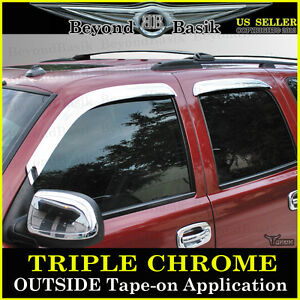 2000 2006 Chevy Tahoe Gmc Yukon 4pc Chrome Door Vent Window Visor Rain Guards