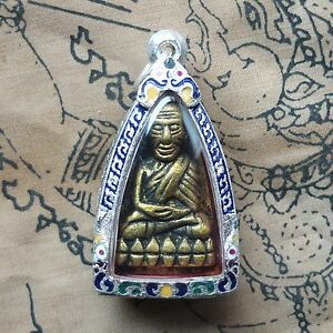 Phra L P Thuad Wat Chang Hai Bronze Year 2497 Beautiful Silver Case