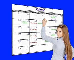 Usi Large Dry Erase Monthly Wall Calendar 36 x48 Never Leaves Marker Stains