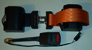 Retractable Lap Seat Belt With Micro Safety Switch Orange Webbing