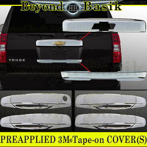 07 14 Chevy Tahoe Suburban Chrome Top Tailgate lower Liftgate door Handle Covers