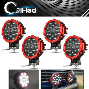 4x 7inch 51w Led Driving Light Flood Beam Offroad Truck 4x4 Round Red Fog Lamp