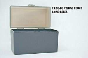 BERRY'S PLASTIC AMMO (2) 50 Round Storage Boxes For 30-06 Rifle FREE SHIPPING