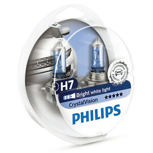 Philips Crystal Vision H7 Upgrade Car Headlamp Bulbs Twin Pack 12972cvsm