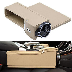 2pcs Pu Leather Seat Storage Box Catcher Gap Filler Coin Collector Cup Holder