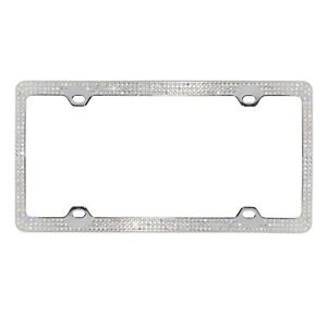 Crystal Ab Rhinestone Bling 3 Row Metal Car License Plate Frame W Caps