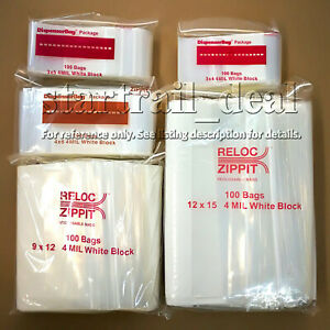 3 X 5 4mil White Block Reclosable Resealable Ziplock Poly Plastic Bags Jewelry