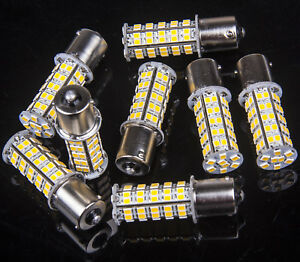 8 X Warm White 68 Smd Rv Camper Trailer Led 1156 1141 1003 Interior Light Bulbs