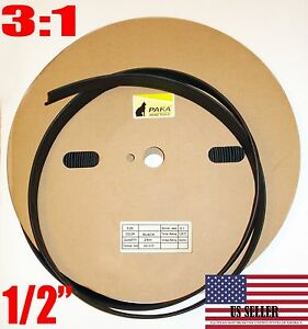 15 Feet 1 2 Dual Wall Black Heat Shrink Tubing 3 1 Adhesive Glue Lined Tube