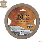 New Premium Genuine Leather Car Truck Beige Steering Wheel Cover Large Size
