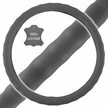 New Premium Genuine Leather Car Truck Gray Steering Wheel Cover Large Size