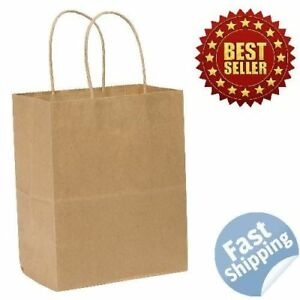 250pk Wholesale Paper Shopping Bags With Handles Brown Tempo 8x4 5x10 25 Inch