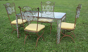 Vintage Woodard Wrought Iron Patio Sun Room Dining Set Table Chairs Nice