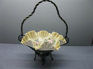 James W Tuft Victorian Quadplate Brides Basket Enameled Ruffled Glass Bowl