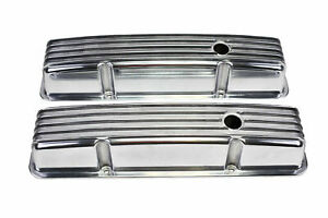 Sbc Chevy 283 327 350 400 Tall Finned Polished Aluminum Valve Covers 58 86