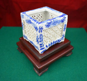 Antique Chinese Reticulated Square Brush Pot With Display Stand Circa 1800 S