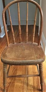Antique Child S Wood Chair In Good Condition