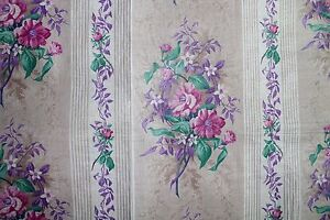 Antique C 1860 French Lovely Rose Chintz Manufacturer S Sample Fabric Textile